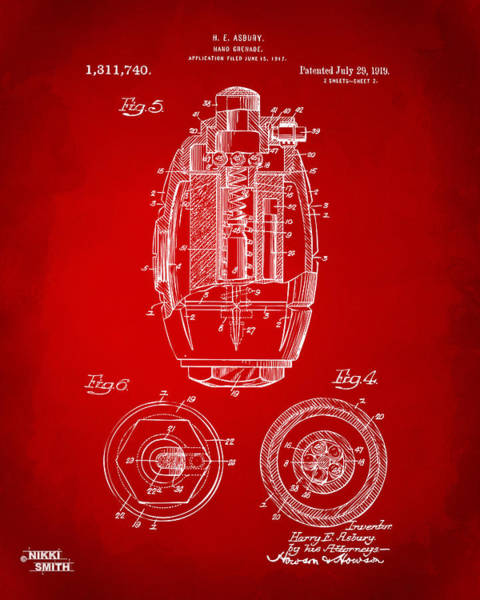 World War 1 Digital Art - 1919 Hand Grenade Patent Artwork - Red by Nikki Marie Smith