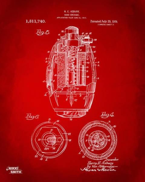 Grenade Wall Art - Digital Art - 1919 Hand Grenade Patent Artwork - Red by Nikki Marie Smith