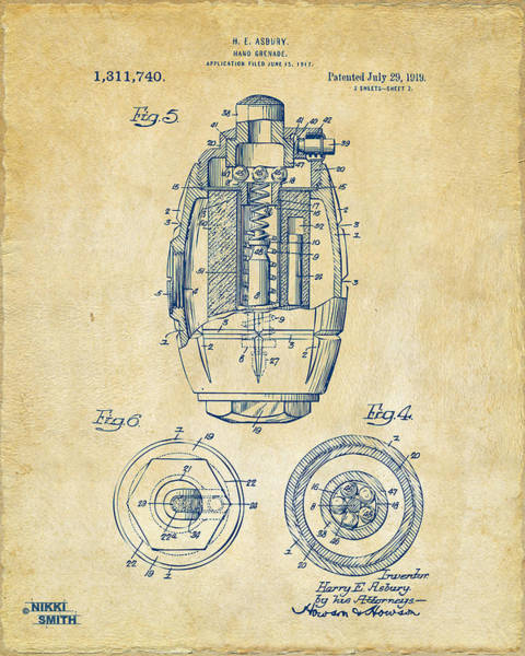 World War 1 Digital Art - 1919 Hand Grenade Patent Artwork - Vintage by Nikki Marie Smith