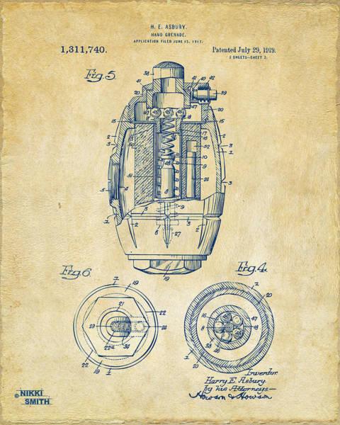 Grenade Wall Art - Digital Art - 1919 Hand Grenade Patent Artwork - Vintage by Nikki Marie Smith