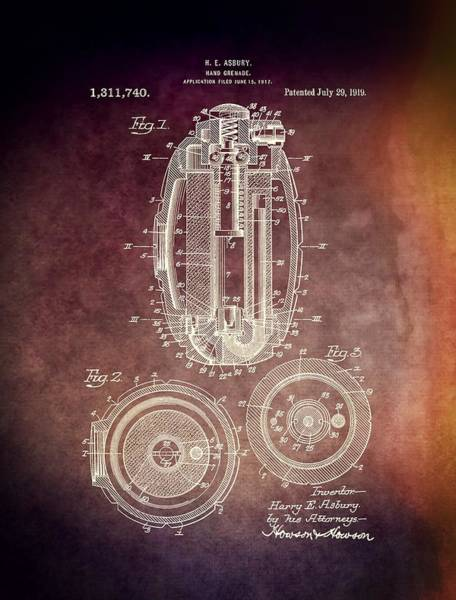Mixed Media - 1919 Hand Grenade Patent by Dan Sproul