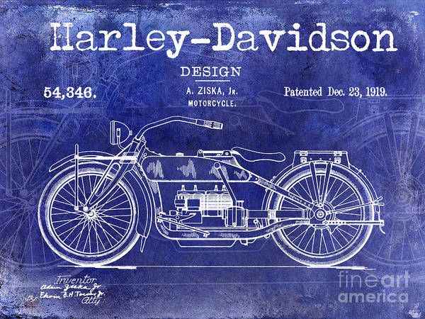 Victory Motorcycle Photograph - 1919 Harley Davidson Patent Drawing Blue by Jon Neidert
