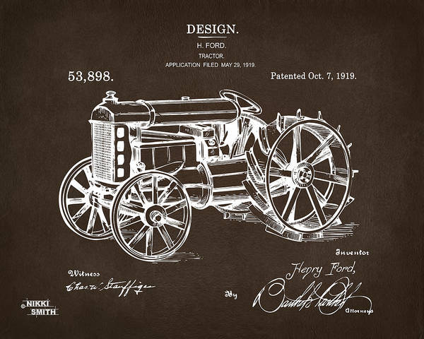 Digital Art - 1919 Henry Ford Tractor Patent Espresso by Nikki Marie Smith