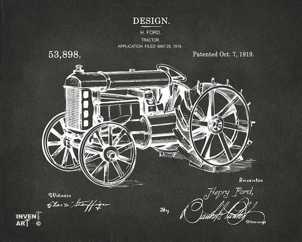 Digital Art - 1919 Henry Ford Tractor Patent Gray by Nikki Marie Smith