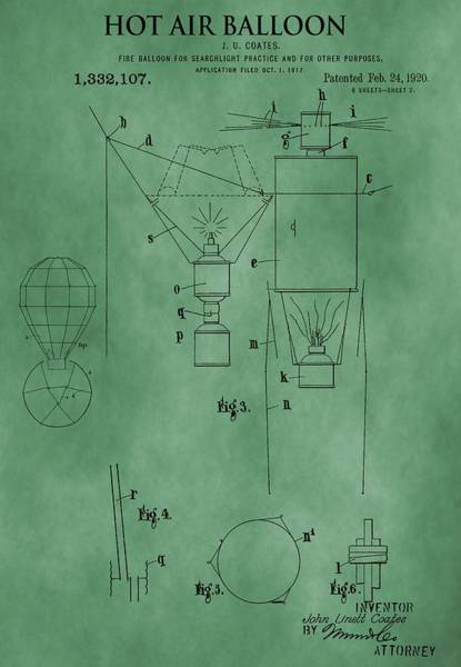 Wicker Basket Digital Art - 1920 Hot Air Balloon Patent Green by Dan Sproul