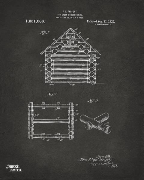 Wall Art - Digital Art - 1920 Lincoln Log Cabin Patent Artwork - Gray by Nikki Marie Smith