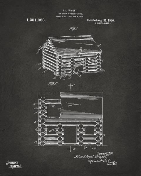 Wall Art - Digital Art - 1920 Lincoln Logs Patent Artwork - Gray by Nikki Marie Smith