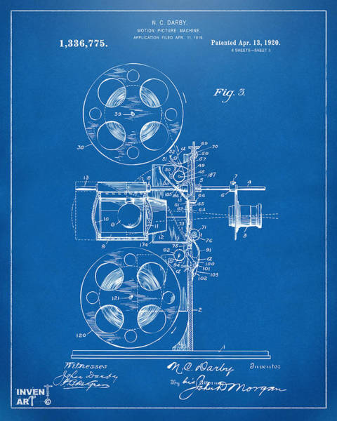 Digital Art - 1920 Motion Picture Machine Patent Blueprint by Nikki Marie Smith