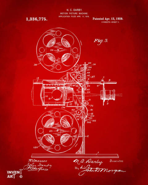 Digital Art - 1920 Motion Picture Machine Patent Red by Nikki Marie Smith