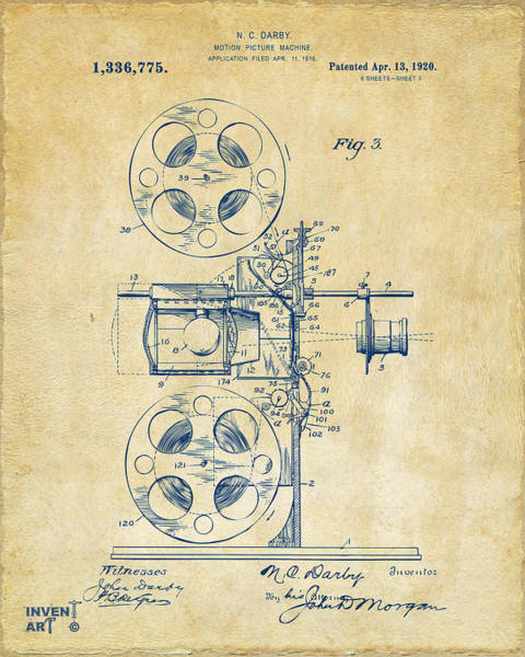 Digital Art - 1920 Motion Picture Machine Patent Vintage by Nikki Marie Smith