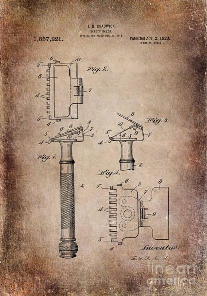 Digital Art - 1920 Razor Chadwick Patent Art Antiqued by Lesa Fine