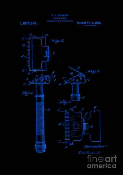Digital Art - 1920 Razor Chadwick Patent Art Blue by Lesa Fine