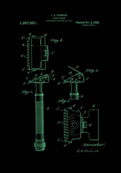 Digital Art - 1920 Razor Chadwick Patent Art Green by Lesa Fine
