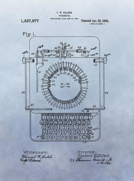 Wall Art - Digital Art - 1920 Typewriter Patent by Dan Sproul