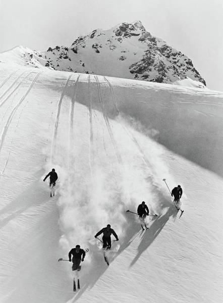 Wall Art - Photograph - 1920s 1930s Five Anonymous Men Skiing by Vintage Images