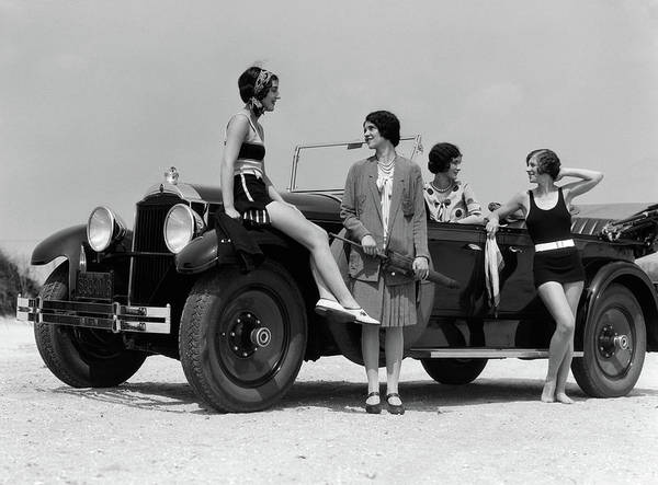 Outing Photograph - 1920s 1930s Four Women by Vintage Images
