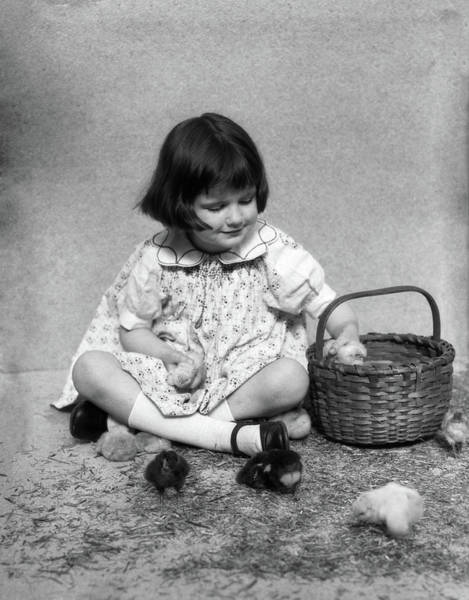 Wall Art - Photograph - 1920s 1930s Girl Sitting Next To Basket by Animal Images