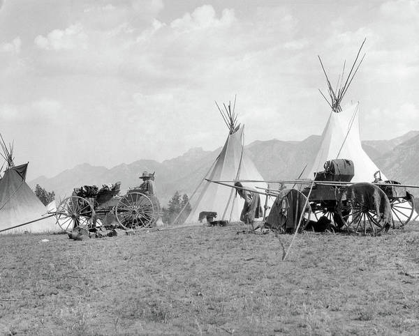 Campsite Wall Art - Photograph - 1920s 1930s Native American Kootenai by Vintage Images