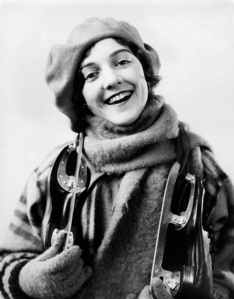 Knit Hat Photograph - 1920s 1930s Smiling Woman Dressed by Vintage Images