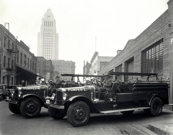 Vintage Fire Truck Photograph - 1920s 1930s Two Fire Trucks With Los by Vintage Images