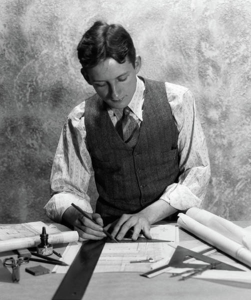 Drafting Photograph - 1920s 1930s Young Man At Desk Drafting by Vintage Images