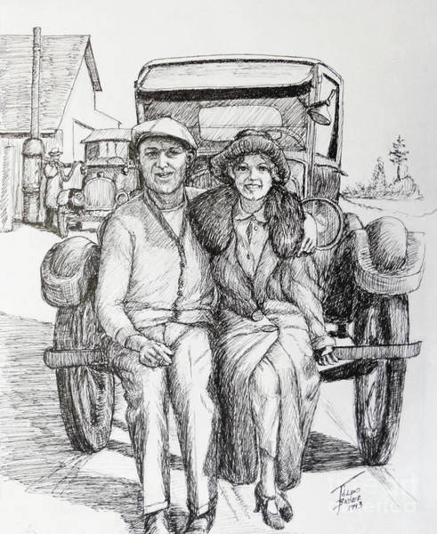 Drawing - 1920s Couple by Art By - Ti   Tolpo Bader