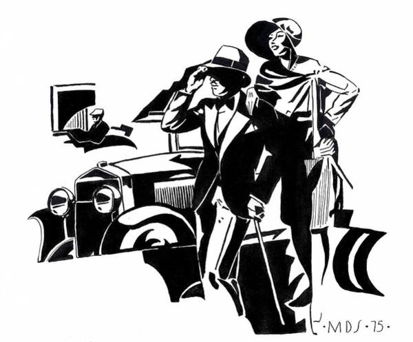 Flappers Drawing - 1920s Deco Car by Mel Thompson
