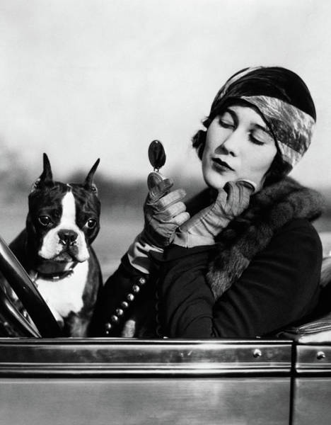 Motoring Photograph - 1920s Flapper In Convertible Powdering by Vintage Images