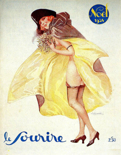 1924 Drawing - 1920s France Le Sourire Magazine Cover by The Advertising Archives