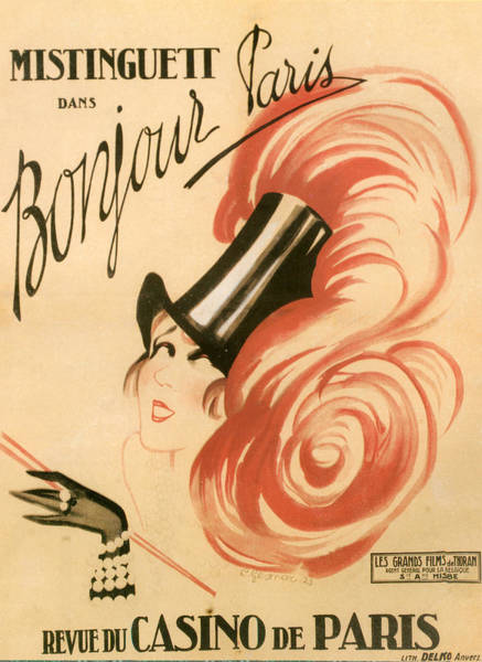 1924 Drawing - 1920s France Mistinguett Poster by The Advertising Archives