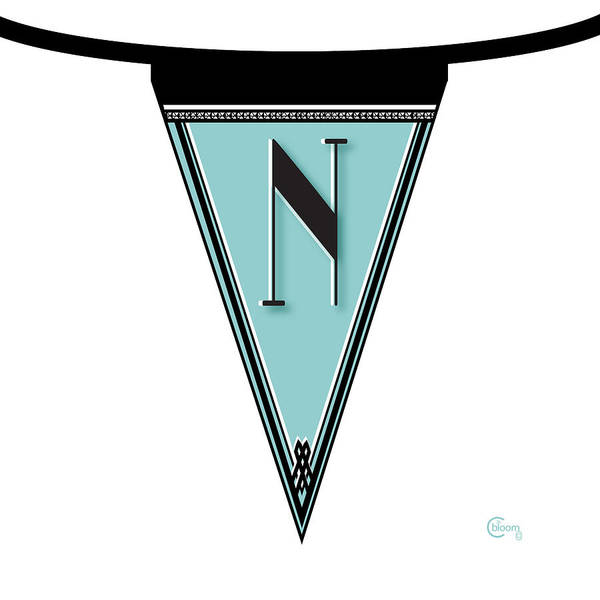 Digital Art - Pennant Deco Blues Banner Initial Letter N by Cecely Bloom