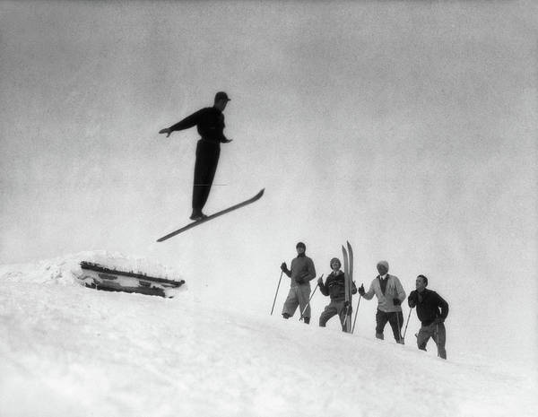 Ski Jumping Photograph - 1920s Men In Snow Wearing Wooden Skis by Vintage Images