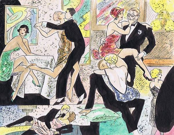 Flappers Drawing - 1920s Party 2 by Mel Thompson
