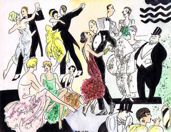 Flappers Drawing - 1920s Party by Mel Thompson