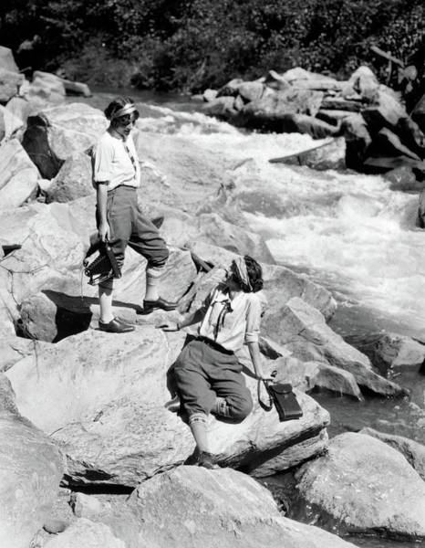 Outing Photograph - 1920s Two Women Sisters On Rocks by Vintage Images