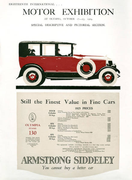 1924 Drawing - 1920s Uk Armstrong Magazine Advert by The Advertising Archives