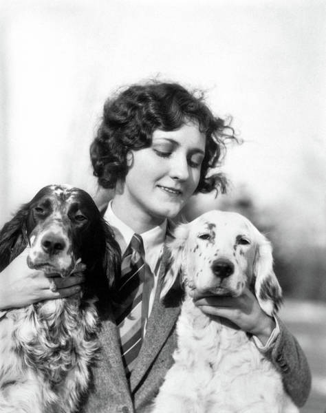 Setters Photograph - 1920s Woman Holding Petting Two English by Animal Images