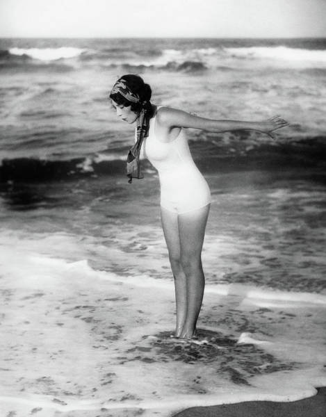 Wall Art - Photograph - 1920s Woman Wearing Bathing Suit & Head by Vintage Images