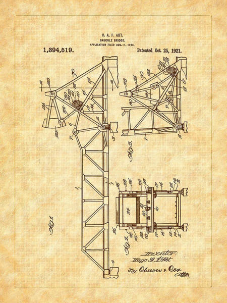 Digital Art - 1921 Bascule Iron Bridge Patent by Barry Jones