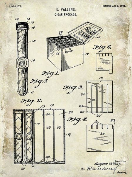 Wall Art - Photograph - 1921 Cigar Package Patent Drawing  by Jon Neidert