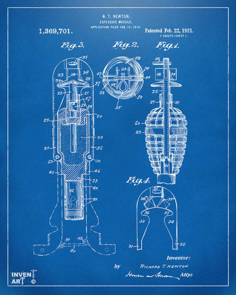 Digital Art - 1921 Explosive Missle Patent Blueprint by Nikki Marie Smith