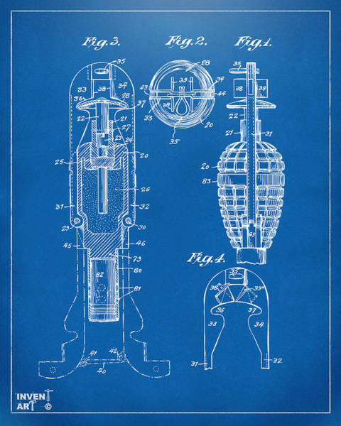 Digital Art - 1921 Explosive Missle Patent Minimal Blueprint by Nikki Marie Smith