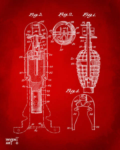 Digital Art - 1921 Explosive Missle Patent Minimal Red by Nikki Marie Smith