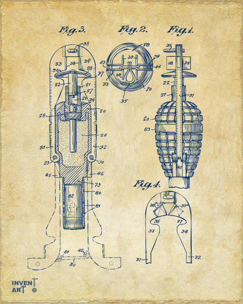 Digital Art - 1921 Explosive Missle Patent Minimal Vintage by Nikki Marie Smith