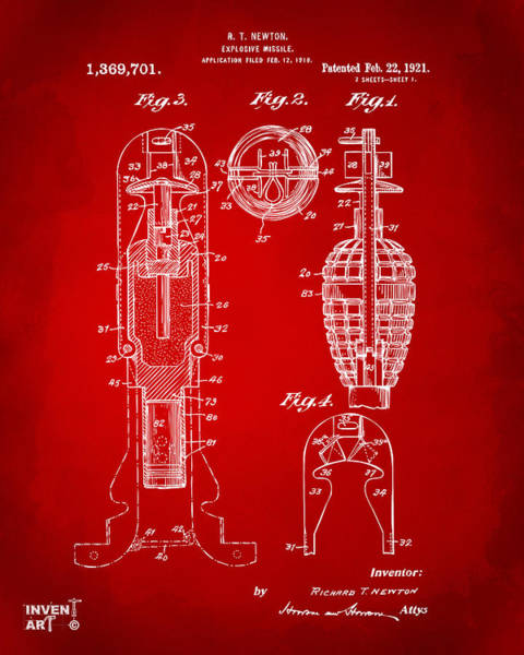 Digital Art - 1921 Explosive Missle Patent Red by Nikki Marie Smith