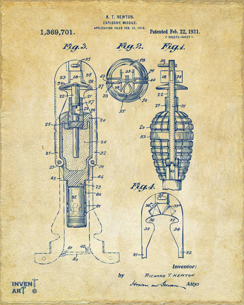 Digital Art - 1921 Explosive Missle Patent Vintage by Nikki Marie Smith