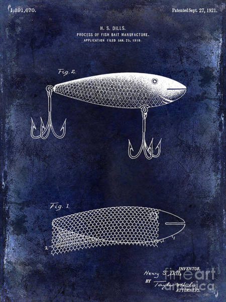 Redfish Lake Photograph - 1921 Fish Bait Patent Drawing Blue by Jon Neidert
