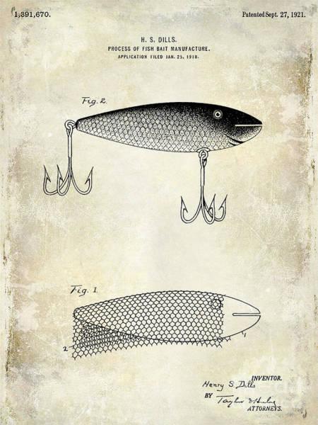 Redfish Lake Photograph - 1921 Fish Bait Patent Drawing by Jon Neidert