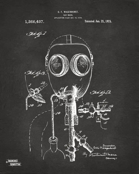 Mask Digital Art - 1921 Gas Mask Patent Artwork - Gray by Nikki Marie Smith