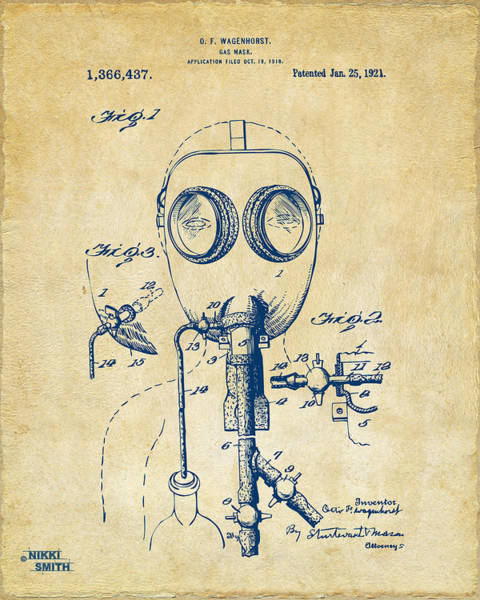 Mask Digital Art - 1921 Gas Mask Patent Artwork - Vintage by Nikki Marie Smith
